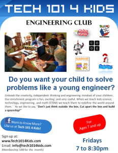 Tech 101 4 Kids Engineering Club Flyer1